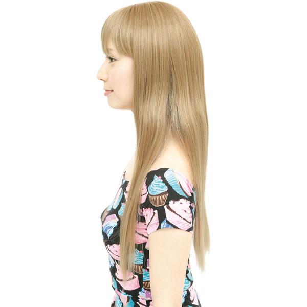 ウィッグ ロング ストレート 耐熱 フルウィッグ ストレートロング ナチュラルゴールド コスプレ 自然 wig かつら WIGGY RICH