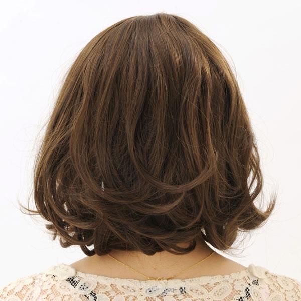 ウィッグ ボブ ショート 耐熱 フルウィッグ フワボブ ブラウン コスプレ 自然 wig かつら WIGGY RICH