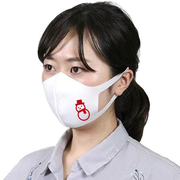 クリスマス マスク 雪だるま おもしろマスク グッズ オリジナルプリント 洗えるマスク 立体 大人 男女兼用 (子供 小さめ有り) 白 ホワイト コスプレ