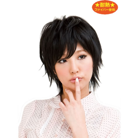 【耐熱】 ウィッグ かつら 黒髪 シャイニーショート スタンダードブラック ショート