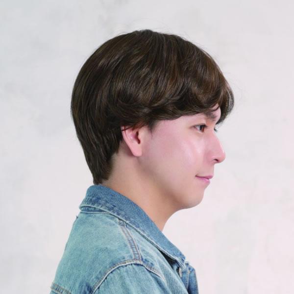 ウィッグ メンズ パーマ カール 自然 ショート 耐熱 ニュアンスセンターパート ショコラブラウン おしゃれ かっこいい かつら 男性 医療用 フルウィッグ