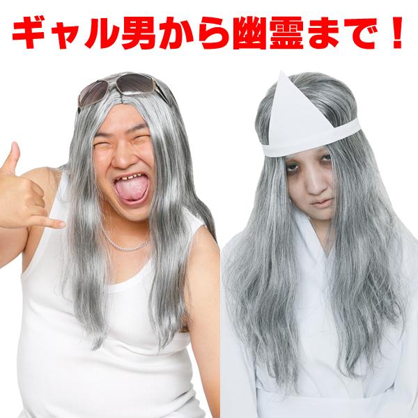 白髪まじり 白髪 ロン毛 かつら カツランド 仮装 カツラ おばけ