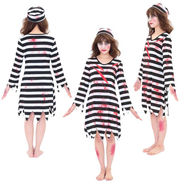囚人 コスチューム 女性 ブラッディープリズナー レディース 囚人服 コスプレ ハロウィン 衣装