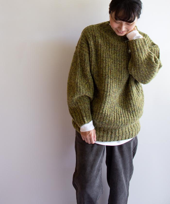 【Hunch ハンチ】ハイネック ポワン袖 ネップ混 3ゲージ ニット