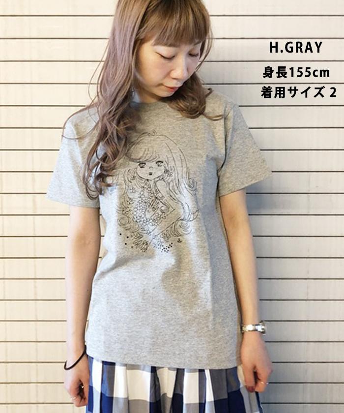 【Ado Mizumori 水森亜土】 フラワー モノトーンガール 半袖 Tシャツ