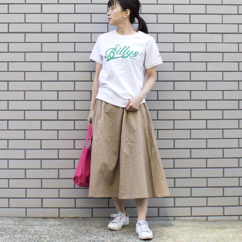【ALL ORDINARIES オールオーディナリーズ】 綿ツイル 脇ファスナー タック スカート