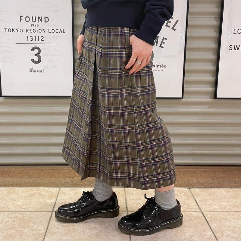【ALL ORDINARIES オールオーディナリーズ】 先染 チェック 前釦ラップ風 スカート