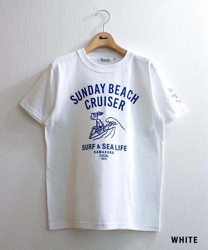 【SUNDAY BEACH CRUISER サンデービーチクルーザー × ALL ORDINARIES オールオーディナリーズ】 コラボ 波乗り MILEY 半袖 Tシャツ