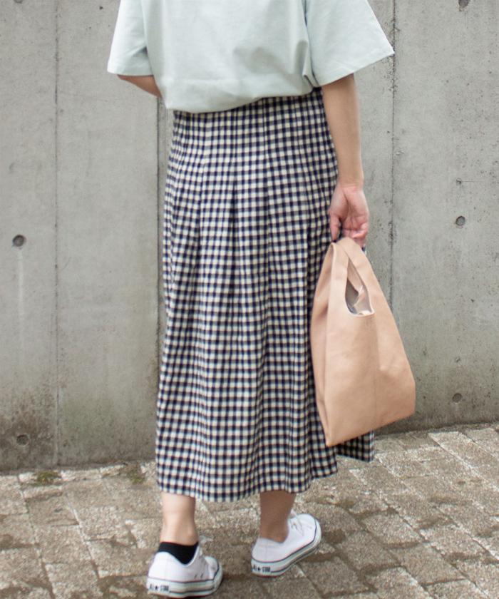 【ALL ORDINARIES オールオーディナリーズ】 ギンガムチェック ギャザータック スカート