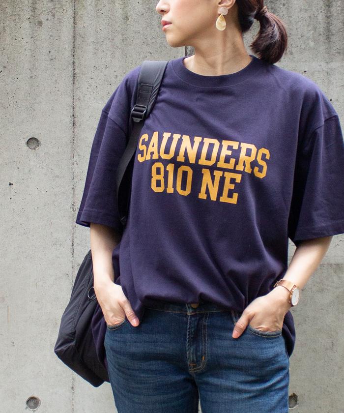 【Hunch ハンチ】SAUNDERS ロゴ 半袖 Tシャツ