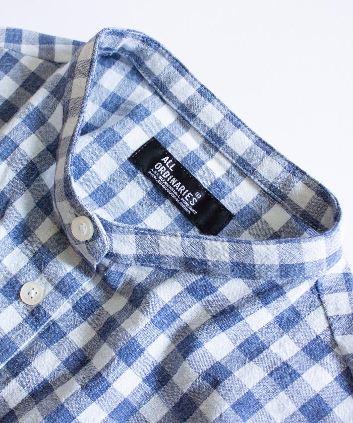【ALL ORDINARIES オールオーディナリーズ】 ギンガムチェック バンドカラーシャツ