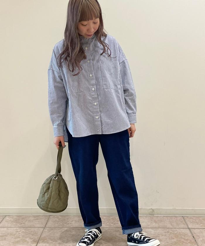 【ALL ORDINARIES オールオーディナリーズ】 ストライプ バンドカラーシャツ