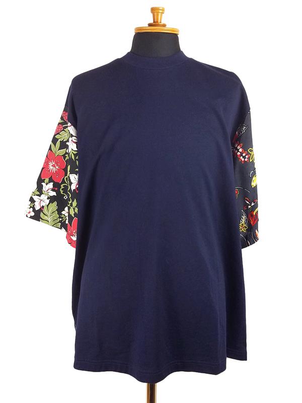 White Mountaineering ホワイトマウンテニアリング FLOWER PRINTED PATCHWORK T-SHIRT フラワープリント パッチワークTシャツ ネイビー WM2071525 / 花柄
