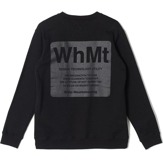 White Mountaineering ホワイトマウンテニアリング ロゴプリント スウェット ブラック LOGO PRINTED SWEATSHIRT 'WhMt' WM1973509