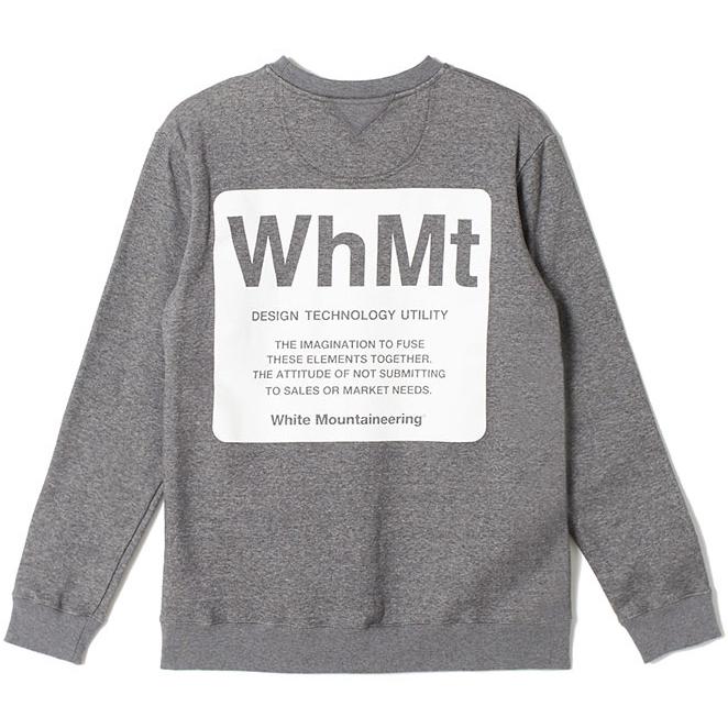 White Mountaineering ホワイトマウンテニアリング ロゴプリント スウェット チャコール LOGO PRINTED SWEATSHIRT 'WhMt' WM1973509