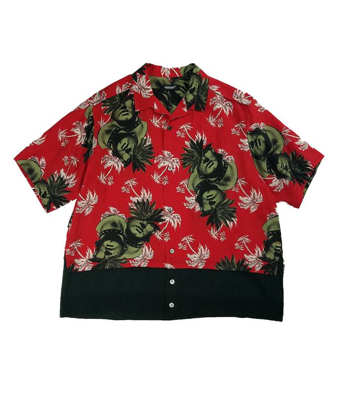 UNDERCOVER アンダーカバー Ry総柄裾KNアロハシャツ PINE  レッド UC1A4407-1
