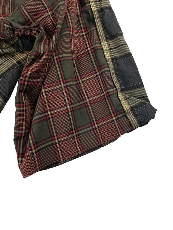 UNDERCOVER アンダーカバー 前後総切替タータンチェックBIG半袖シャツ カーキ UC1A4410-1