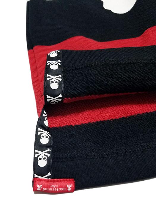 mastermind JAPAN マスターマインドジャパン 半袖カットソー ミニ裏毛ボーダー レギュラーフィット プリント ブラック×ホワイト(レッド) MJ18E02-SW119-012