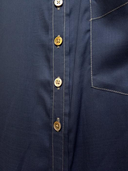 sulvam サルバム ロングオーバーシャツ ネイビー long over SH SJ-B05-020