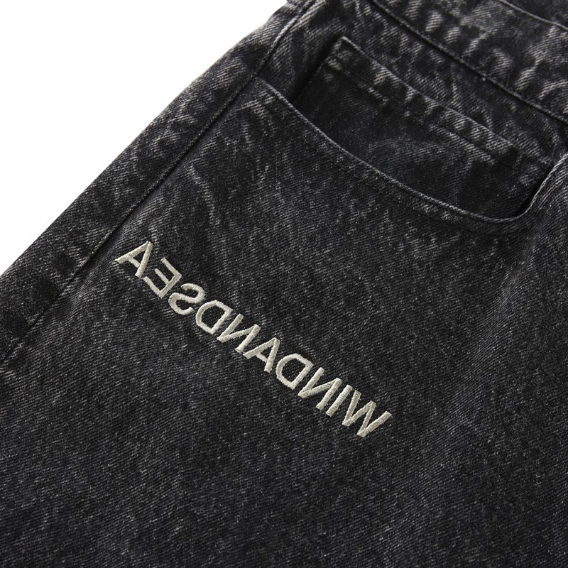 WIND AND SEA ウィンダンシー WDS A32(INVERT) Mid Rise Wide Tapered Jeans テーパードデニムパンツ ブラック WDS-21S-PT-04
