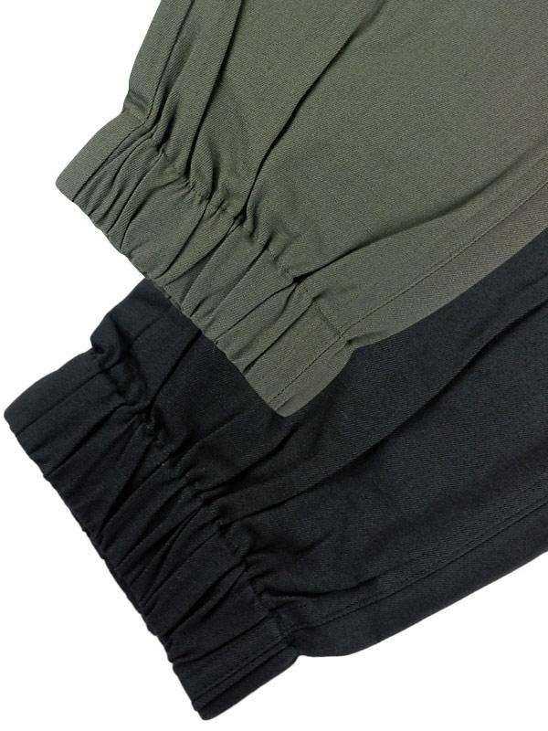 .efilevol エフィレボル ギャザーヘムパンツ PA-PT02 / Gathered Hem Pants リブパンツ ミリタリー カーキ ブラック