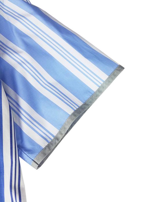 White Mountaineering ホワイトマウンテニアリング STRIPED BIG HALF SLEEVES SHIRT ストライプ 半袖ビッグシャツ ブルー WM2071109