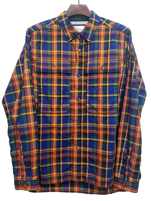 White Mountaineering ホワイトマウンテニアリング マドラスチェックシャツ イエロー×ブルー MADRAS CHECK SHIRT  WM1971104