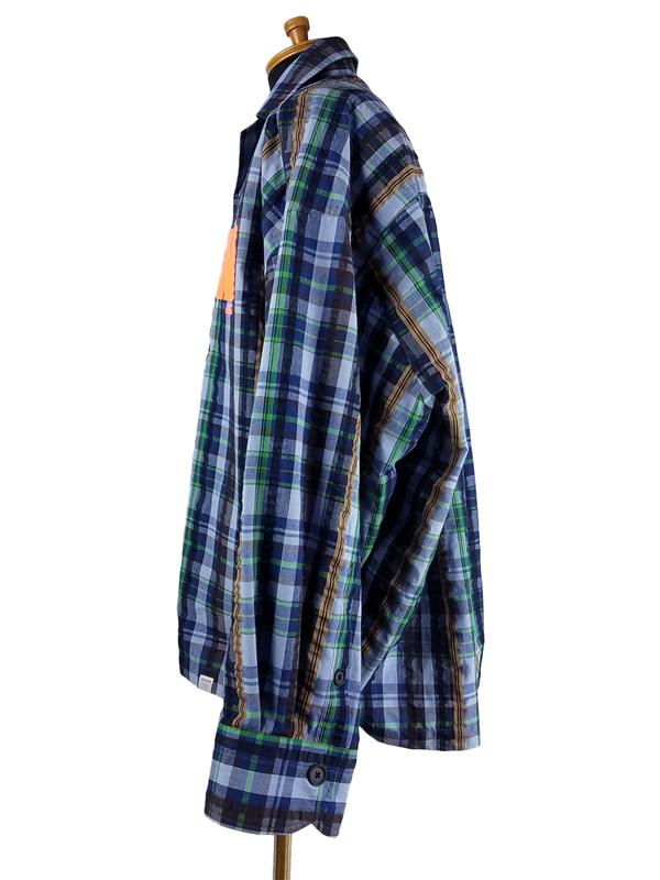 kolor BEACON カラービーコン マドラスチェック オープンカラーシャツ ライトブルー 20WBM-B01143