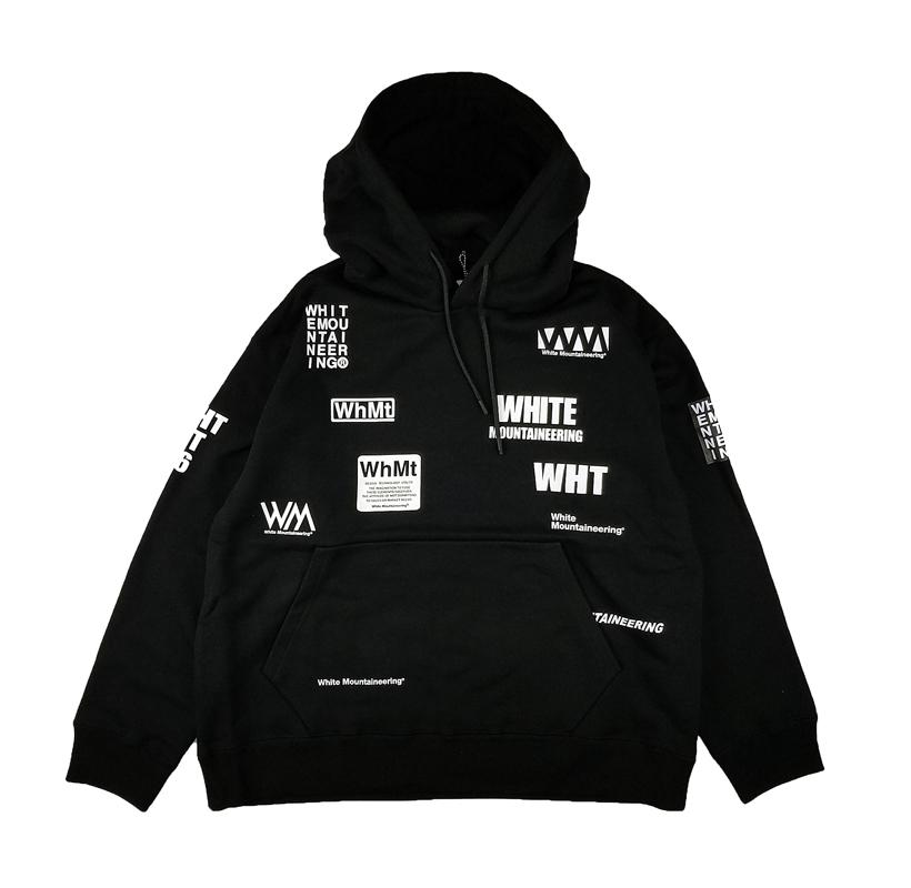 White Mountaineering ホワイトマウンテニアリング WM LOGO RANDAM PRINTED HOODIE ロゴプリントパーカー ブラック WM2173527