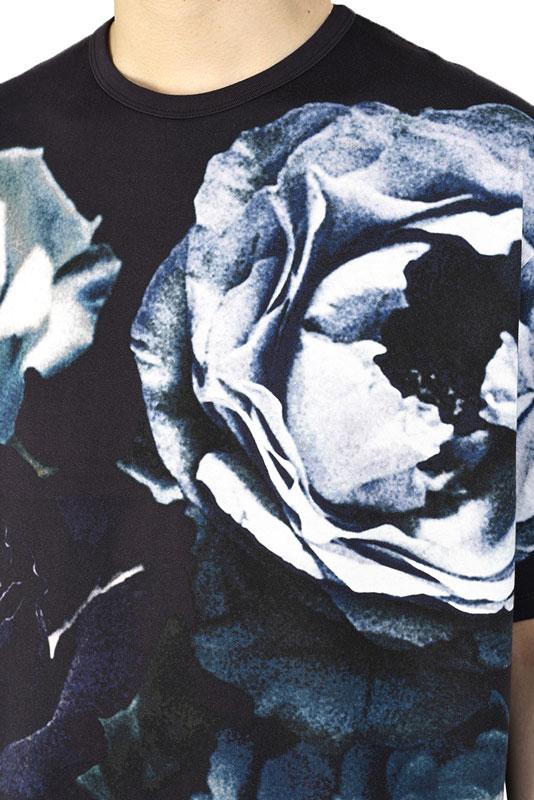 LAD MUSICIAN ラッドミュージシャン BIG ROSE BIG T-SHIRT 花柄ビッグTシャツ ネイビー 2321-707