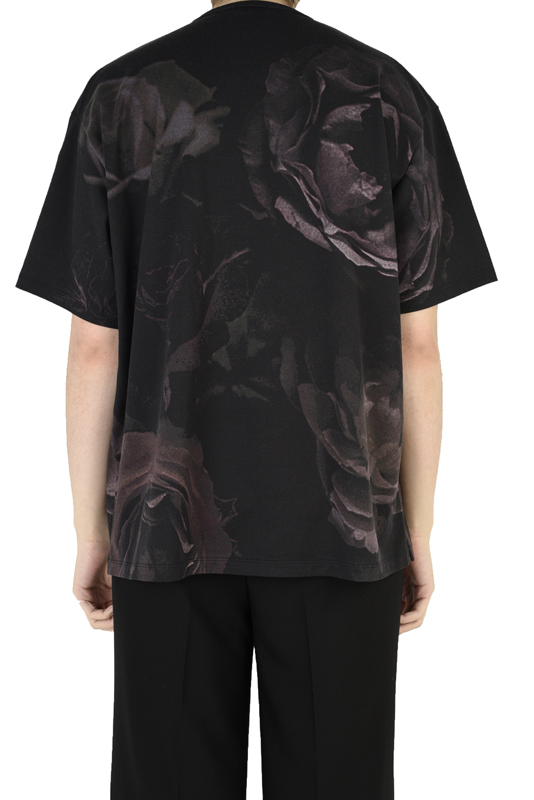 LAD MUSICIAN ラッドミュージシャン BIG ROSE BIG T-SHIRT 花柄ビッグTシャツ ブラック 2321-707
