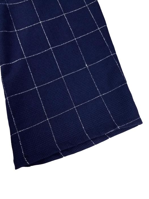 sulvam サルバム Slim slippage pants チェック ウールパンツ ネイビー SM-P09-200