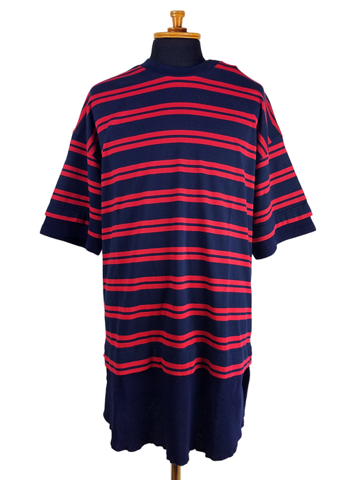 White Mountaineering ホワイトマウンテニアリング STRIPE LAYERED T-SHIRT ストライプ レイヤード Tシャツ ネイビー WM2071527