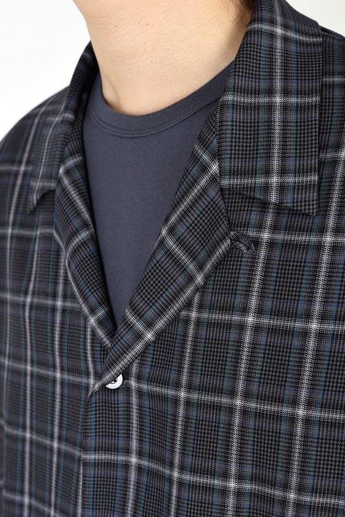 LAD MUSICIAN ラッドミュージシャン OPEN COLLAR SHIRT オープンカラーシャツ グレーパープル 2121-122