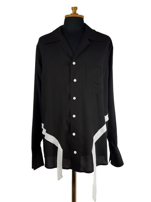 sulvam サルバム Tencel open collar shirt オープンカラーシャツ ブラック×ホワイト SN-B06-010