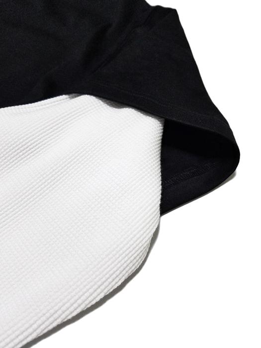 mastermind JAPAN マスターマインドジャパン 長袖Tシャツ ワッフル+天竺 レギュラーフィット プリント ブラックxホワイト MJ18E01-TS064-900