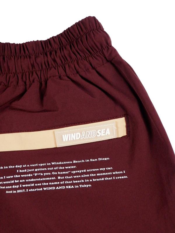 WIND AND SEA ウィンダンシー WDS NYLON SHORTS ナイロンショートパンツ バーガンディー WDS-20S2-PT-01 / パンツ