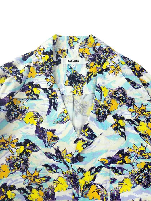 sulvam サルバム Long sleeve ALOHA shirt ロングアロハシャツ サックス SN-B08-020