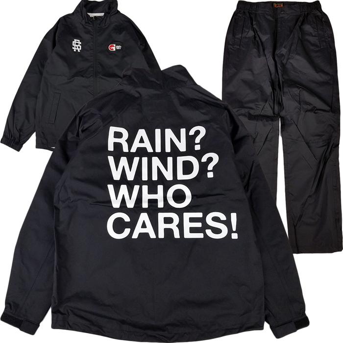 rough&swell ラフアンドスウェル WHO CARES RAIN SUIT レインスーツ ブラック RSM-20090 / ナイロンブルゾン ナイロンパンツ セットアップ ゴルフウェア