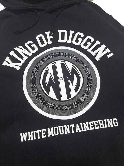 White Mountaineering ホワイトマウンテニアリング パーカー ブラック PRINTED BIG HOODIE 'KING OF DIGGIN' WM1971514