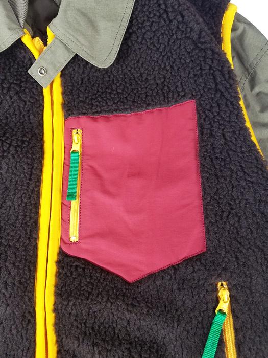 kolor BEACON カラービーコン ボアレイヤードブルゾン カーキ 20WBM-G01132
