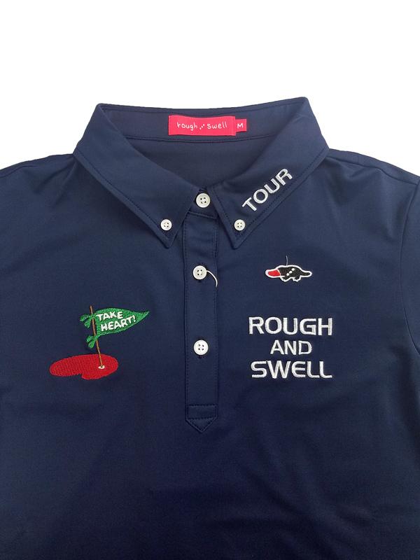 【WOMEN】 rough&swell for WOMEN ラフアンドスウェル ウィメン TAKE HEART POLO W. ポロシャツ ネイビー RSL-21002 / ゴルフウェア レディース ラフ&スウェル