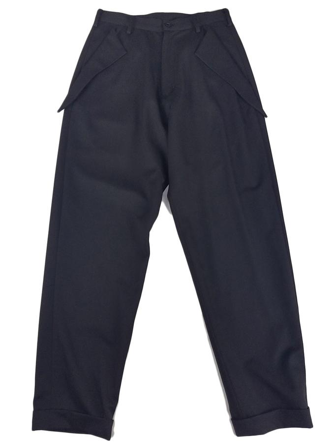sulvam サルバム no-tuck flap PT ノータックフラップパンツ ブラック SL-P01-100 / パンツ
