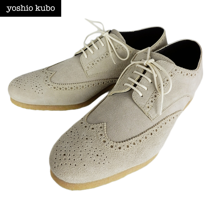 【訳あり】yoshio kubo ヨシオクボ スウェード シューズ ウイングチップ ベージュ YKF11910