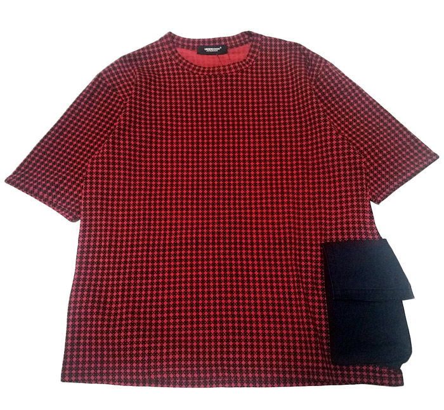 UNDERCOVER アンダーカバー 脇ポケット付小紋チェック半袖Tシャツ ボルドーベース UCW4808
