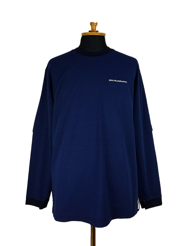 White Mountaineering ホワイトマウンテニアリング FAKE LAYERED LONG SLEEVE T-SHIRT レイヤードロングスリーブTシャツ ネイビー WM2173508