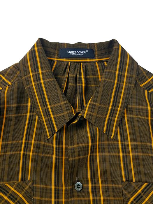 UNDERCOVER アンダーカバー C/Ryチェック裾切替長袖シャツ  ブラウンチェック UC1A4403-2