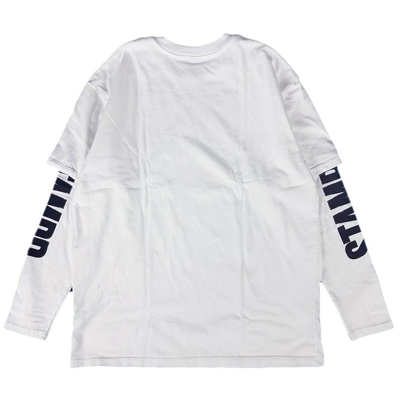 STAMPD スタンプド レイヤード長袖Tシャツ ホワイト Binal Long Sleeve SLA-M2091FT /ロンT
