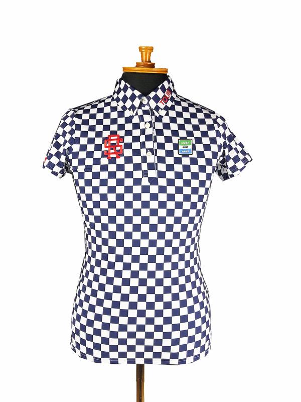 【WOMEN】 rough&swell for WOMEN ラフアンドスウェル ウィメン CHECKER POLO W. ポロシャツ ネイビー RSL-21005 / ゴルフウェア レディース ラフ&スウェル