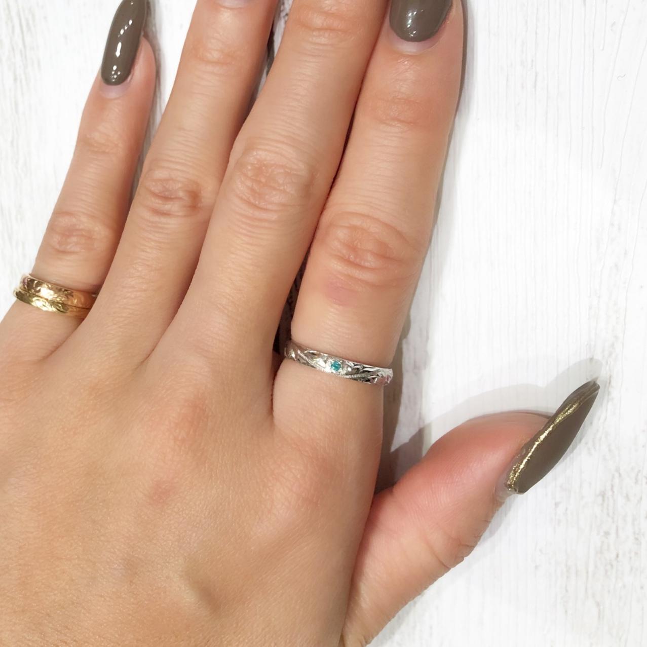 【14K 手彫りパライバトルマリンリング】  ハワイアンジュエリー ペアリング ホワイトゴールド K14 指輪